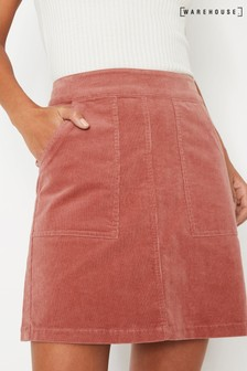Warehouse Pink Cord Patch Pocket Skirt