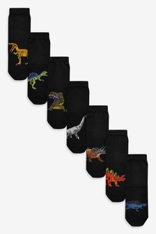 7 Pack Cotton Rich Dinosaur Socks (Older)
