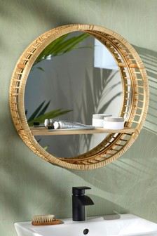 Wood And Rattan Shelf Mirror