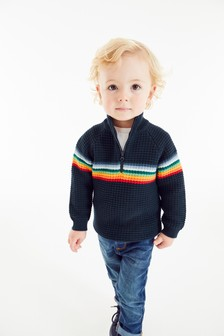 Rainbow Stripe Zip Neck Jumper (3mths-7yrs)