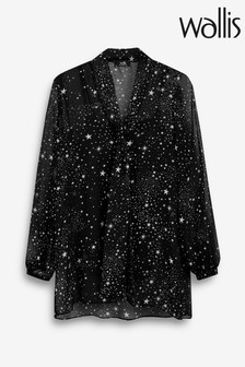 Wallis Black Star Print Tie Neck Blouse