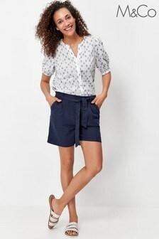 M&Co Blue Linen Shorts
