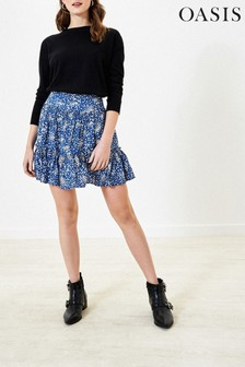 Oasis Blue Sparkle Ditsy Mini Skirt