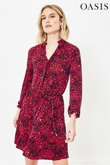 Oasis Tall Red Heart Print Shirt Dress