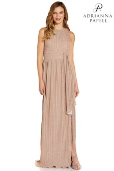 Adrianna Papell Nude Metallic Pleated Gown