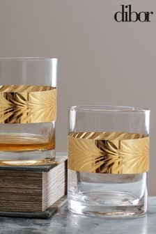 Set of 2 Gold Leaf Whisky Tumblers by Dibor