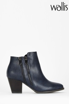 Wallis Blue Asteria Double Side Zip Ankle Boots
