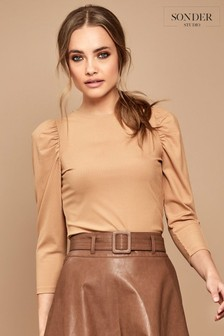 Sonder Studio Camel Puff Shoulder Jersey Top