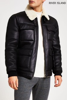 River Island Black Shearling Jacket