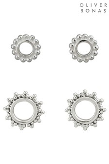 Oliver Bonas Sterling Silver Sunlight Stud Earrings Two Pack