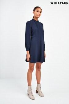Whistles Navy Agata Pintuck Shirt Dress