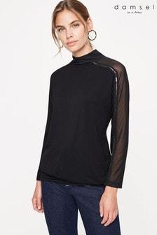 חולצת ג'רזי עם רשת של Damsel In A Dress דגם Louelle בשחור