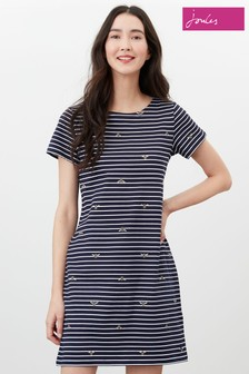 Joules Blue Printed Dress With Short Sleeves