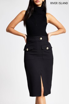 River Island Black Utility Pencil Skirt