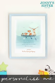 Personalised Row Row Row Your Boat Framed Illustration by Jonnys Sister