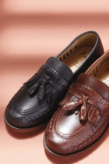 Leather Woven Tassel Loafers (Older)