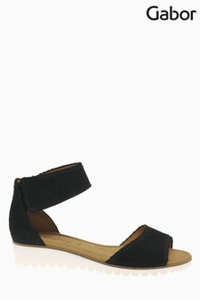 Gabor Black Geena Cobra Suede Sandals