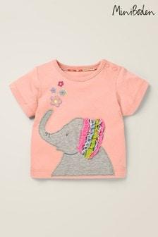 Boden Pink Appliqué Frill T-Shirt