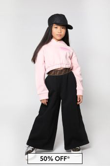 Fendi Kids Girls Black Cotton Trousers