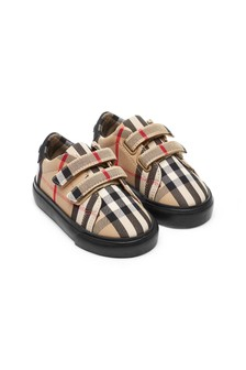 Burberry Kids Baby Beige Cotton Trainers