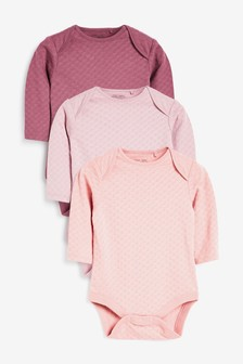 3 Pack Pointelle Long Sleeve Bodysuits (0mths-3yrs)