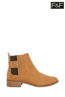 F&F Tan Strap And Buckle Boots