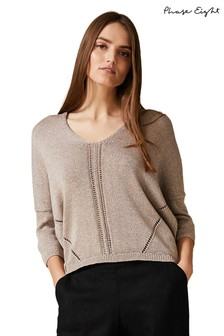 Phase Eight Neutral Tatienne Tape Yarn Knit Jumper