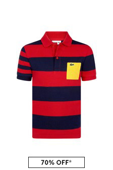 Lacoste Kids Boys Red Cotton Polo Top