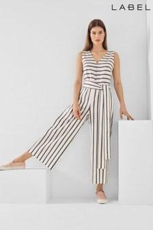 Label Stripe Tie Back Jumpsuit