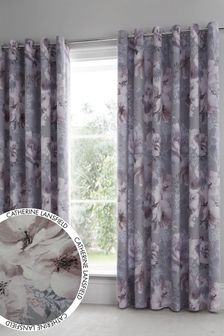 Catherine Lansfield Grey Dramatic Floral Eyelet Curtains