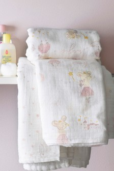 Set of 2 Mabel Mouse & Geo Swaddle Blankets