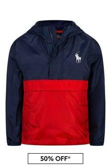 Ralph Lauren Kids Boys Navy/Red Pullover Jacket