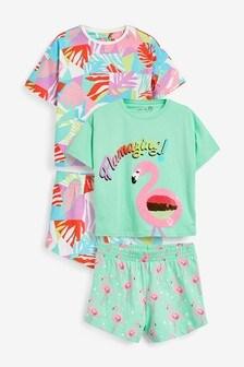 2 Pack Flamingo Short Pyjamas (3-16yrs)