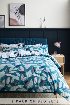 2 Pack Teal Leaves Duvet Cover and Pillowcase Set