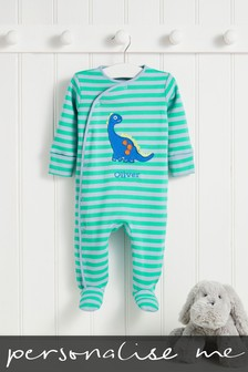 Personalised Green Stripe Dinosaur Sleepsuit