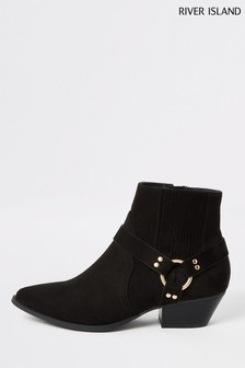 River Island Black Suedete Western Buckle Boots