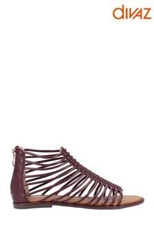 Divaz Burgundy Gemma Gladiator Zip Sandals