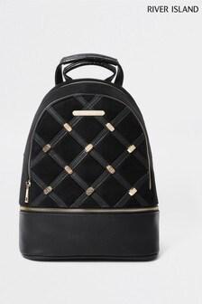 River Island Black Studded Backpack