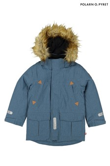 Polarn O. Pyret Blue Waterproof Parka Coat