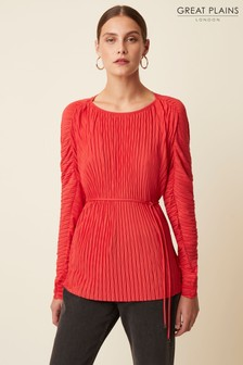 Great Plains Red Broadway Pleat Long Sleeve Round Neck Top