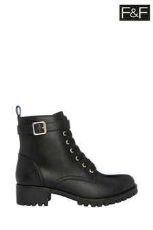 F&F Black Gold Strap Cleat Hiker Boots