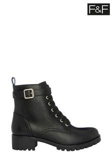 F&F Black Gold Strap Cleat Hiker Boots