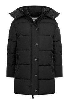 Girls Black Padded Maxi Jacket