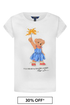 Girls White Cotton Bear Print T-Shirt