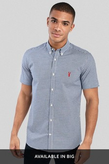 Gingham Short Sleeve Slim Fit Stretch Oxford Shirt