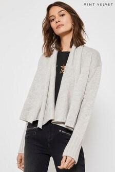 Mint Velvet  Grey Short Knit Biker Cardigan
