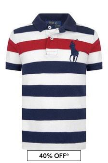 Boys Navy Striped Cotton Polo Top