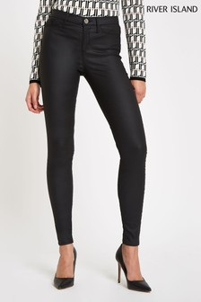 River Island Black Molly Coated Jeggings