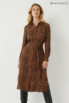 Warehouse Brown Ink Spot Midi Shirt Dress