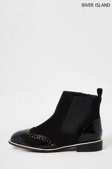 River Island Black Croc Stud Brogue Flat Boots